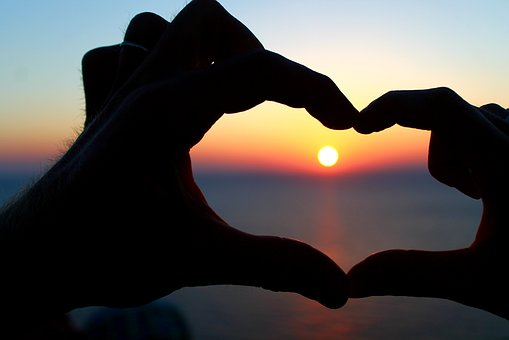 Sunset, Sky, Silhouette, Hands, Meeting, Sun, Heart