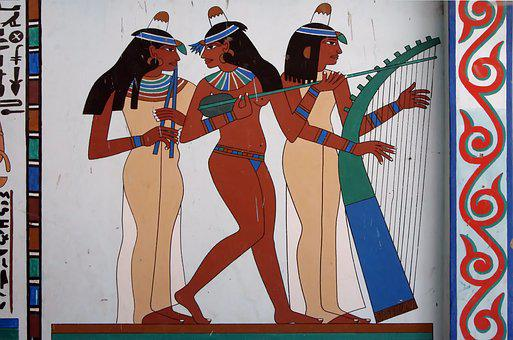 Egypt, Fresco, Mural, Decoration, Antique, Musician