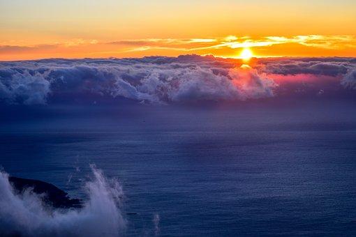 Sunset, Nature, Dusk, Sea, Table Mountain, South Africa