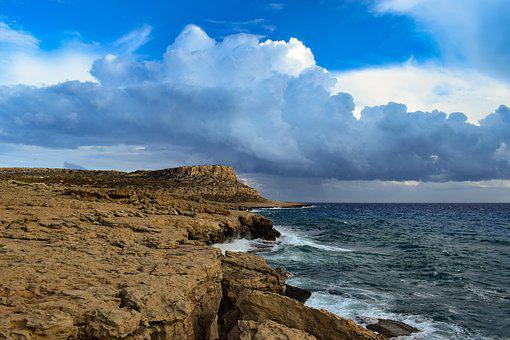 Cyprus, Cavo Greko, Sea, Sky, Clouds, Seashore, Nature