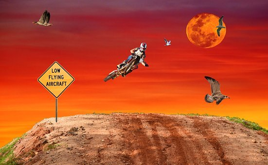 Motocross, Jump, Fantasy, Sky, Low Flying Aircraft Sign