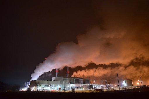 Industrial, Night, Lights, Smoke, Steam, Pollution