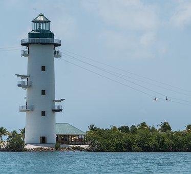 Lighthouse, People, Zip Line, Water, Travel, Seashore