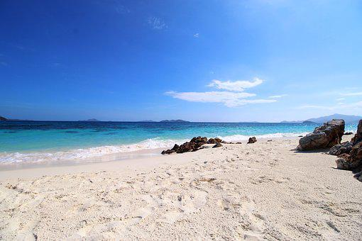 Sand, Beach, Seashore, Water, Travel, Malcapuya Island