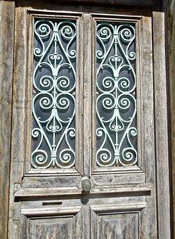 Decoration, Door, Wood, Wrought Iron, Entrance, Wooden