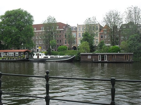 River, Water, Canal, City, Reflection, Boat, Amsterdam