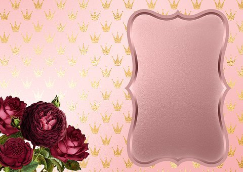 Roses, Crowns, Gold, Background Image, Frame, Flowers
