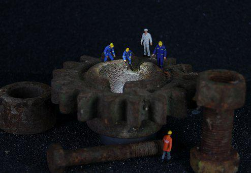 Industry, Mechanics, Miniature Figures, Gear, Engineer