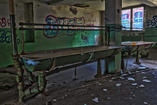 Abandoned, Industry, Graffiti, Within, Bathroom Sink
