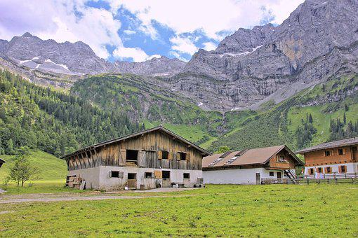 Mountain, Nature, Home, Wood, Farm, Landscape, Barn