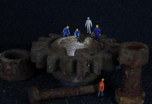Industry, Mechanics, Miniature Figures, Gear, Engineer