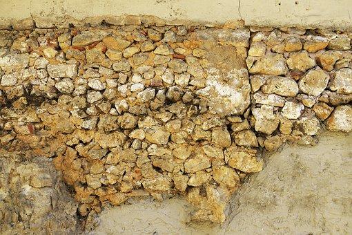 Stone Wall, Plastered, Weathered, Old, Gebröckelt