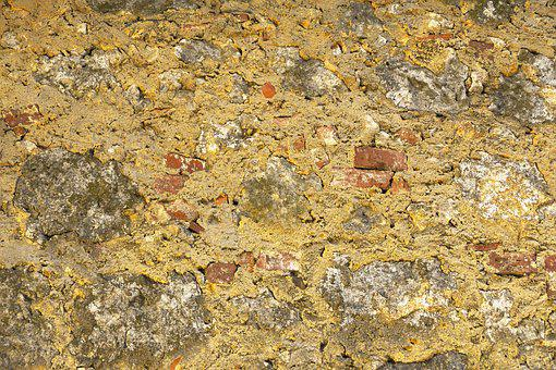Stone Wall, Quarry Stone, Plastered, Weathered, Old