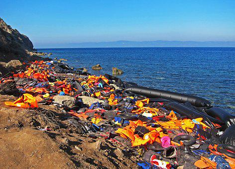 Life Jackets, Syria, War, Orange, Beach, Refugees