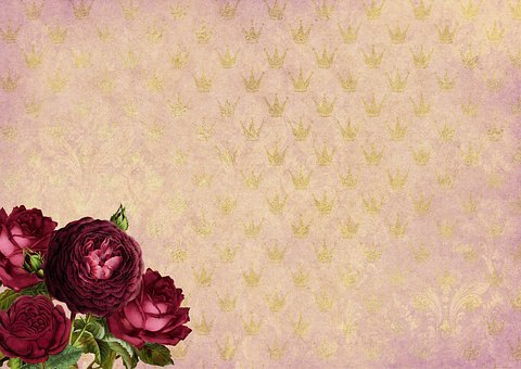Roses, Crowns, Gold, Background Image, Flowers, Bud