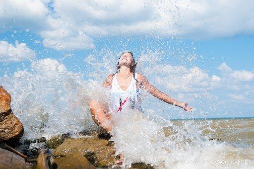 Woman, Water, Sea, Beach, Summer, Nature, Delight
