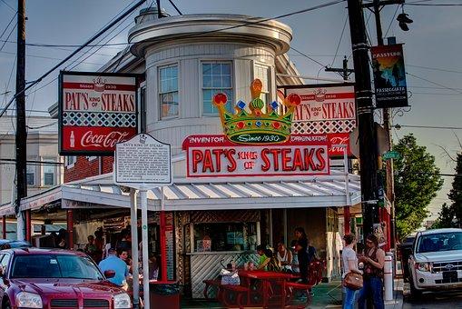 Stock, Street, Shop, Shopping, City, Pat's Steaks