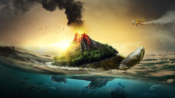 Sea, Turtle, Volcano, Sunset, Fish, Nature, Beautiful