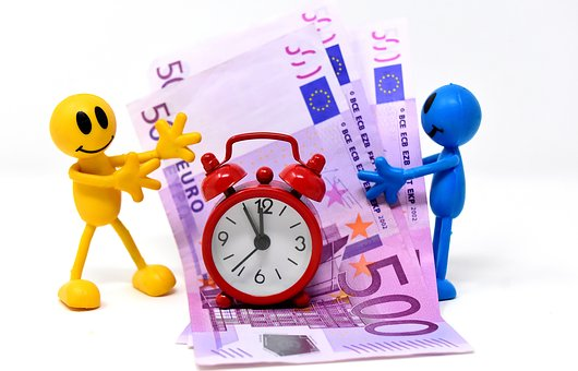 Time Is Money, Bank Note, Figures, Funny, Clock
