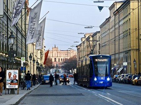 City, Road, Traffic, Urban Area, Tram, Munich