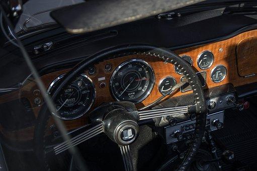 Auto, Triumph, Oldtimer, Dashboard, Cockpit