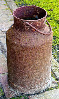 Milk Can, Stainless, Old, Pot, Vintage, Container