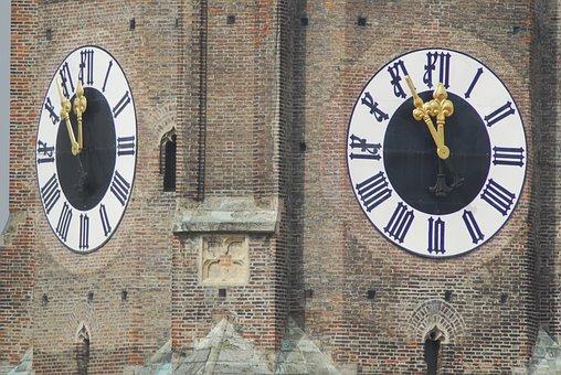 Clock, Old, Architecture, Frauenkirche, Munich