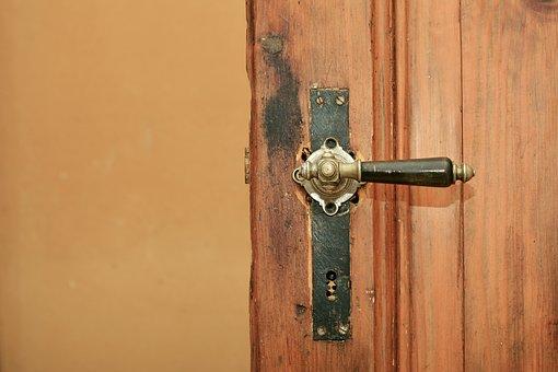 Wooden Door, Door Handle, Door Knob, Old, Antique, Wood