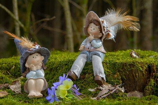 Log, Moss, Green, Figure, Girl, Boy, Forest, Nature