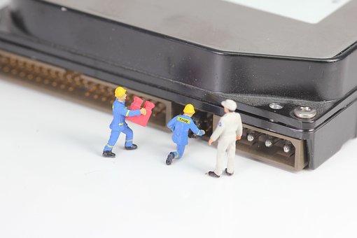 Computer, Hard Drive, Miniature Figures, Microchip