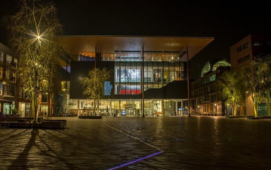 Horizontal, Lit, Architecture, Light, City, Leeuwarden