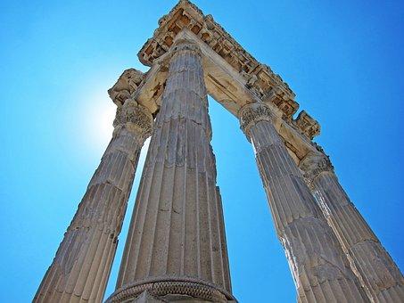 Bergama, Pergamos, Pergamon, Columns, Fluted, Roman