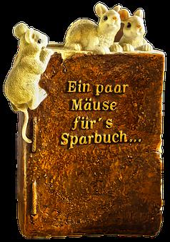 Mice, Piggy Bank, Save, Savings Book, Ceramic