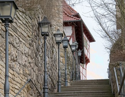 Old, Stairs, Old Town, Stone Steps, Railing