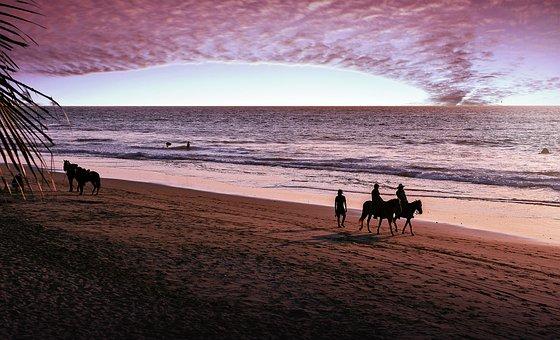 Sunset, Sand, Beach, Horizontal, Outdoors, Costa