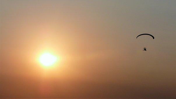 Sunset, Sun, Sky, Paragliding, Helicopter, Propeller
