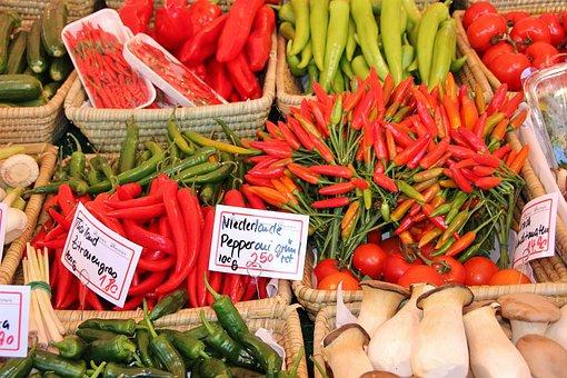 Market, Food, Vegetables, Paprika, Supermarket