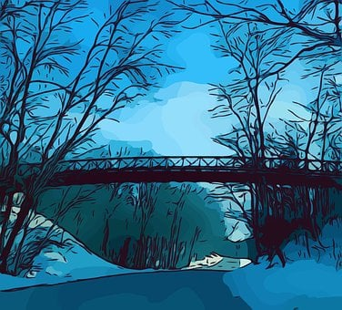 Bridge, Trees, Walking, Nature, Road, Rural, Walk, Blue