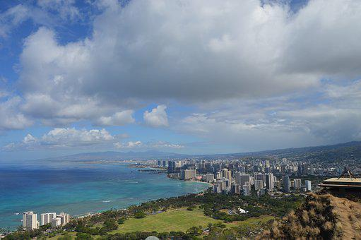 Panoramic, City, Architecture, Travel, Water, Hawaii