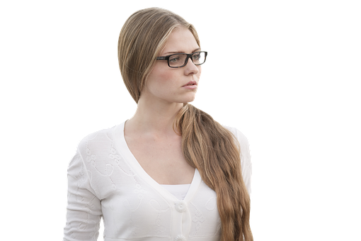 Specs, Girl, White, Brown, Blonde, Sad, Candid, Glasses