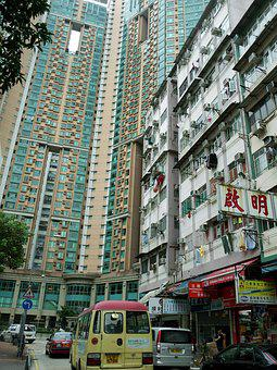 Hong Kong, Building, Block Of Flats, City, Street