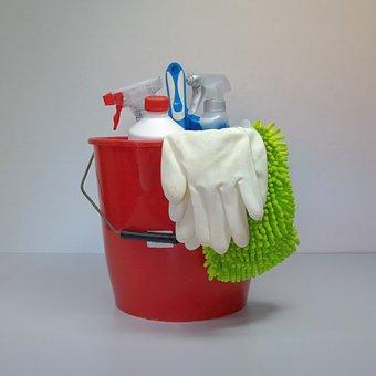 Clean, Putz Bucket, Frühjahrsputz, Cleaning Rags