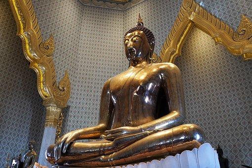 Sculpture, Golden, Religion, A, Travel, Statue
