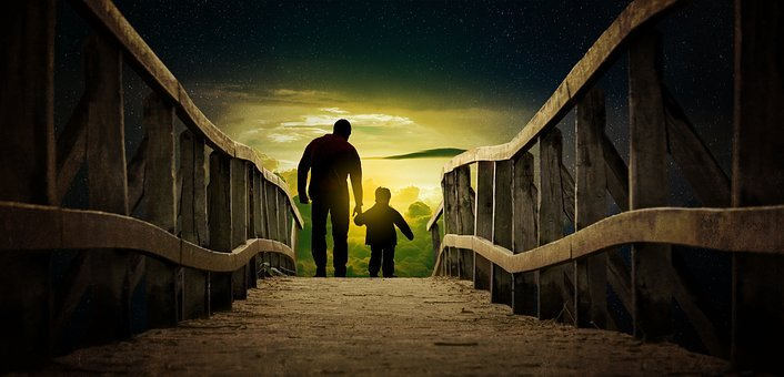 Father And Son, Bridge, Happiness, Man, Wallpaper