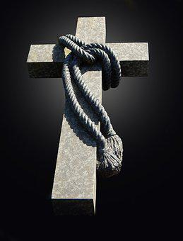 Rope, Connected, Knot, Cross, Stone, Granite