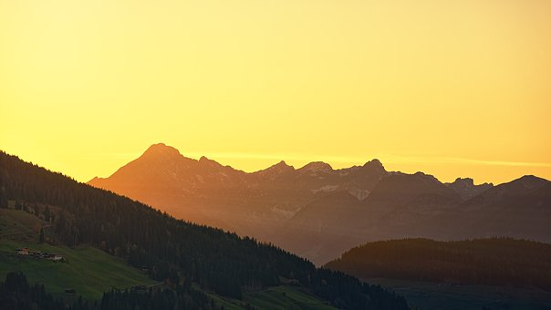 Panorama, Sunset, Dawn, Nature, Mountain, Alpine