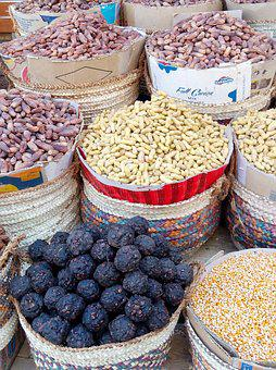 Oriental Market, Display, Peanuts, Dates, Food, Dry