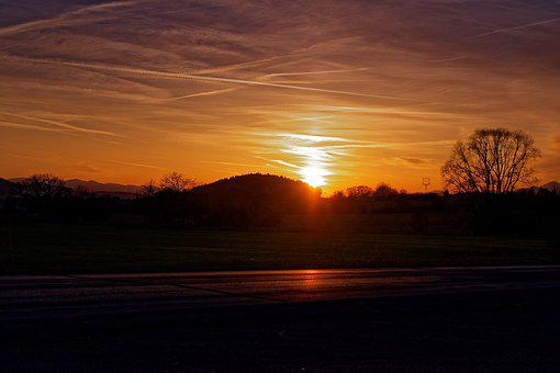 Sun, West, That's The Orange, Path, Meadow, Stiny