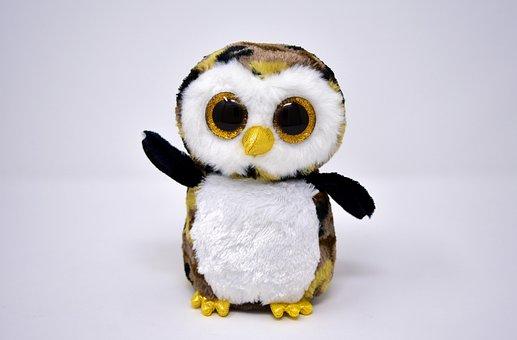 Owl, Glitter Eyes, Soft Toy, Funny, Teddy Bear