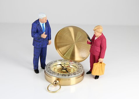 Compass, Direction, Miniature Figures, Policy, Merkel